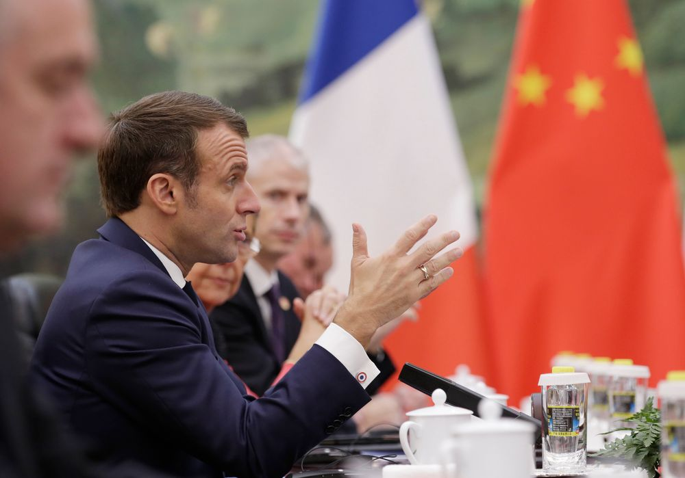 French President Emmanuel Macron speaks during a meeting with Chinese Premier Li Keqiang (not pictured) at the Great Hall of the People in Beijing, Wednesday, Nov 6, 2019. (Jason Lee/Pool Photo via AP)