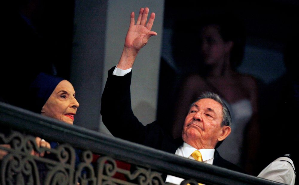 FILE- In this Oct. 28, 2010 file photo, Cuba's President Raul Castro, right, and Alicia Alonso, Cuba's prima ballerina and director of Cuba's National Ballet, attend the opening ceremony of the 22nd International Ballet Festival in Havana, Cuba. Cuba's national ballet has reported that Alonso has died on Thursday, Oct. 17, 2019 (AP Photo/Javier Galeano, File)