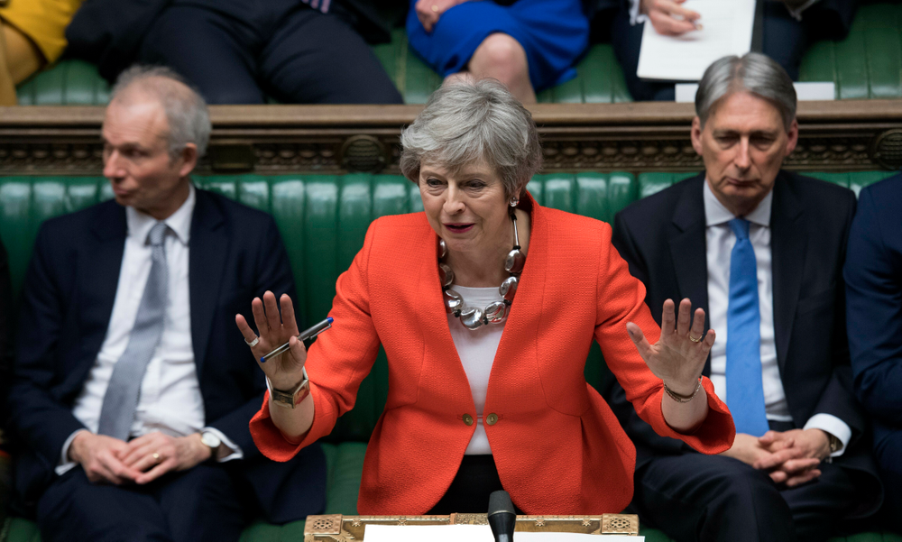FILE - In this Tuesday March 12, 2019 file photo Britain's Prime Minister Theresa May speaks to lawmakers in parliament, London. Britain's love-hate relationship with the rest of Europe goes back decades, but the Brexit crisis gripping it today stems from dramatic January 2013 speech by Prime Minister David Cameron in which he promised an