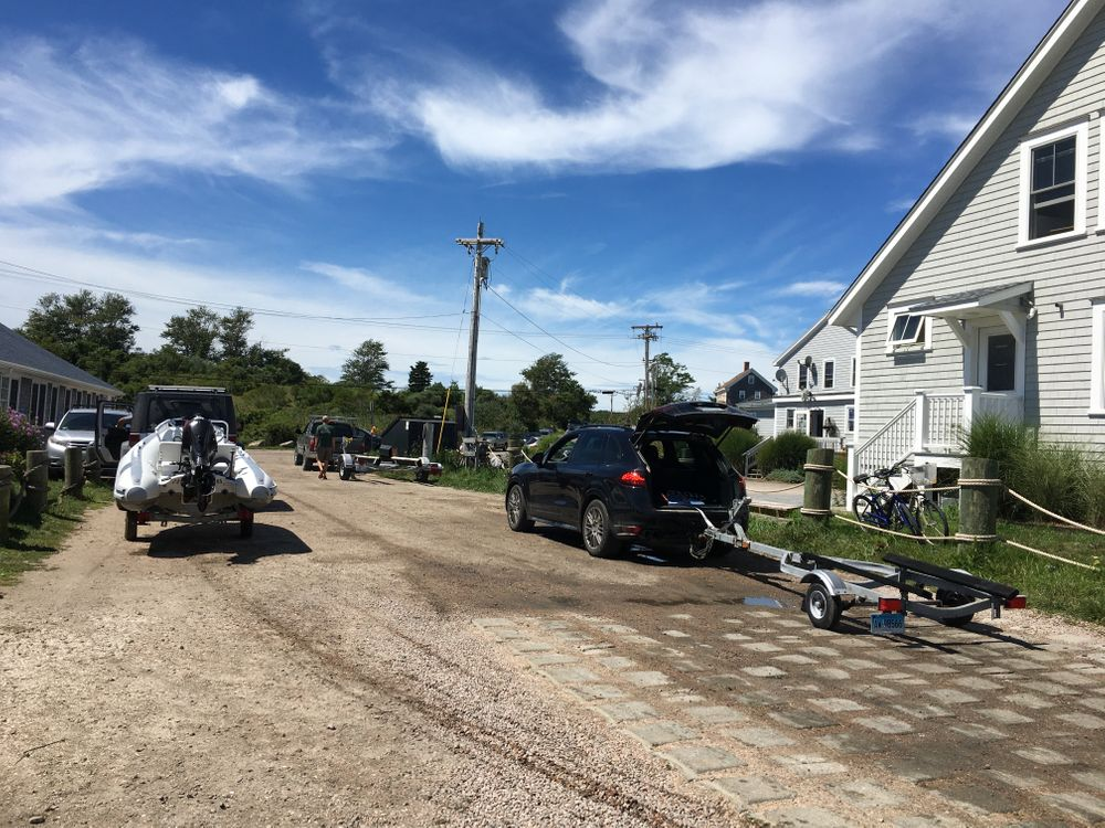 People prepared on Friday to pull boats out of Great Salt Pond on Block Island, before Henri's arrival in southern New England.