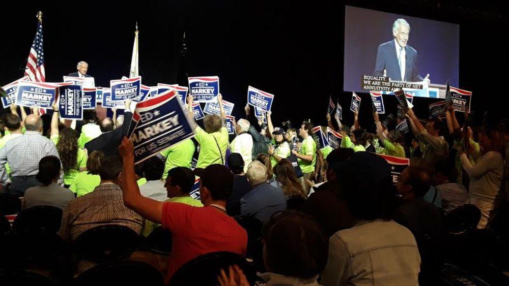U.S. Senator Ed Markey addresses Democrats gathered in Springfield, Massachusetts, for their convention on September 14, 2019.