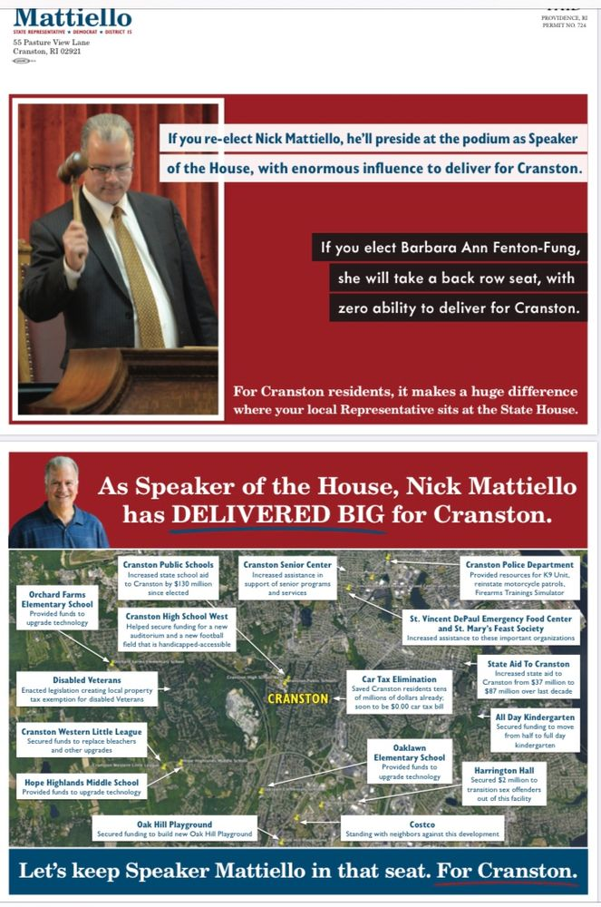 A Mattiello mailer touts his ability to deliver for Cranston