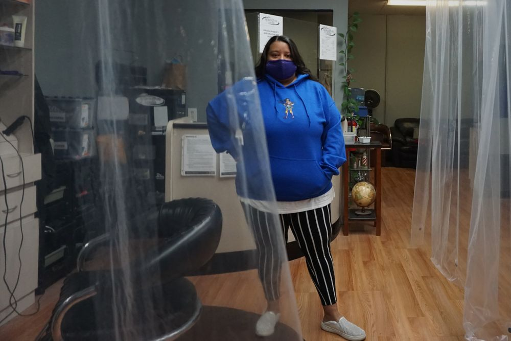 Jen Ortiz in her downtown Providence hair salon