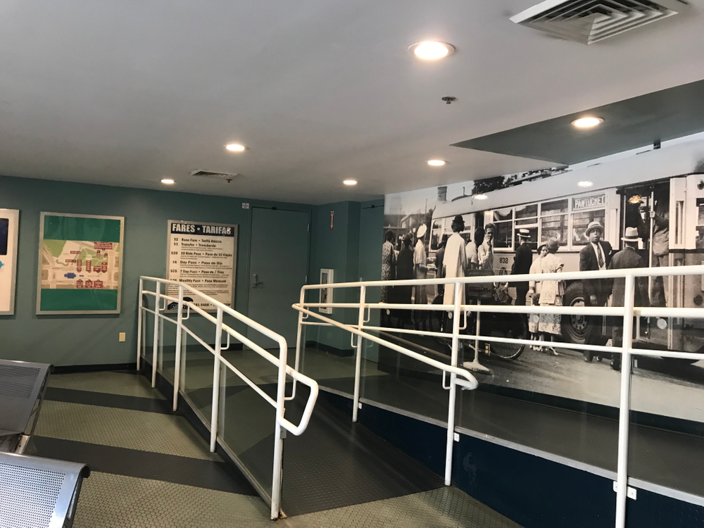 The indoor waiting area for riders on the ground level of the building, which was sold to Pet Food Experts several years ago, will soon be redeveloped.