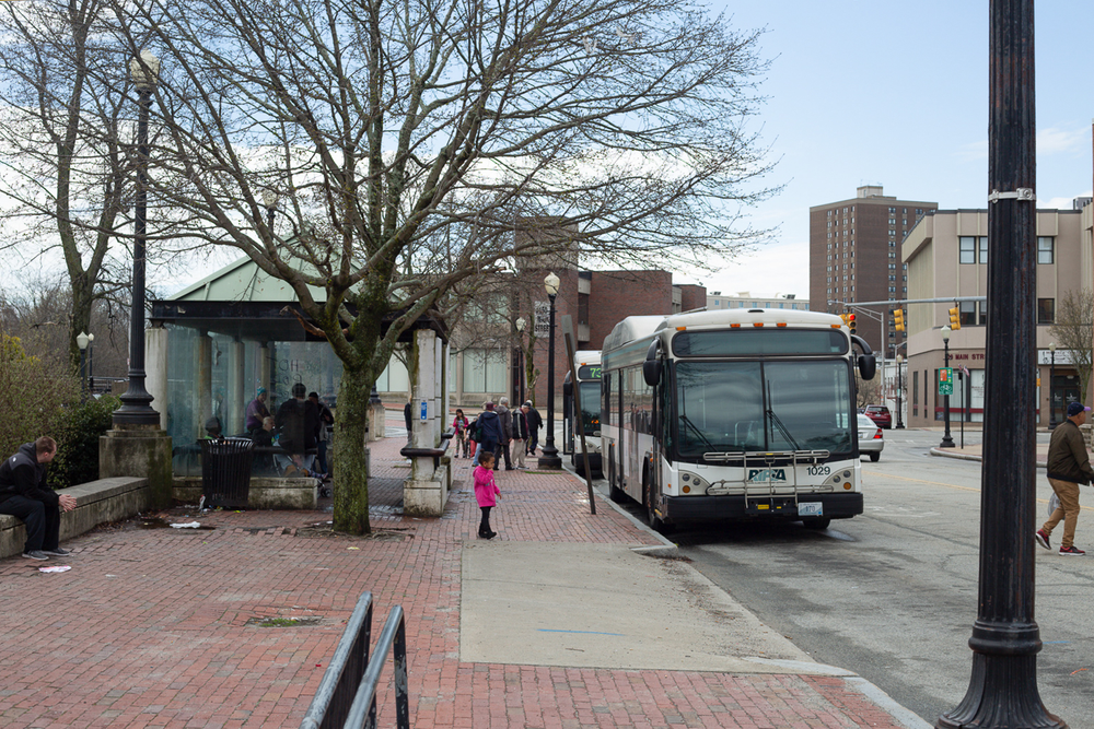 Across from the Visitors Center Building, a covered pavilion provides more shelter for RIPTA riders.