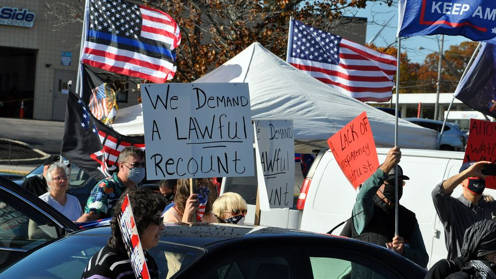 Supporters of Pres. Donald Trump calling for a recount of votes in Rhode Island and other states outside the Rhode Island Board of Elections offices in Cranston on Friday, Nov. 6, 2020.