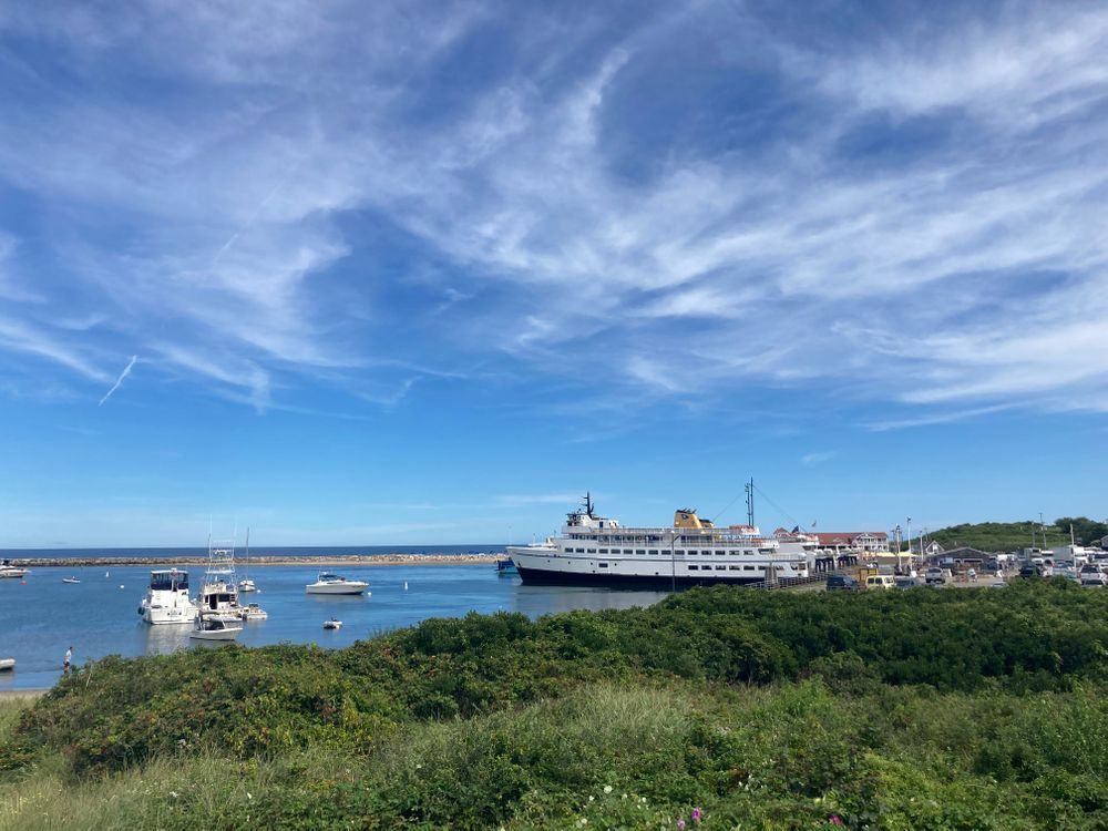 The Block Island ferry to Point Judith, under blue skies on Friday.
