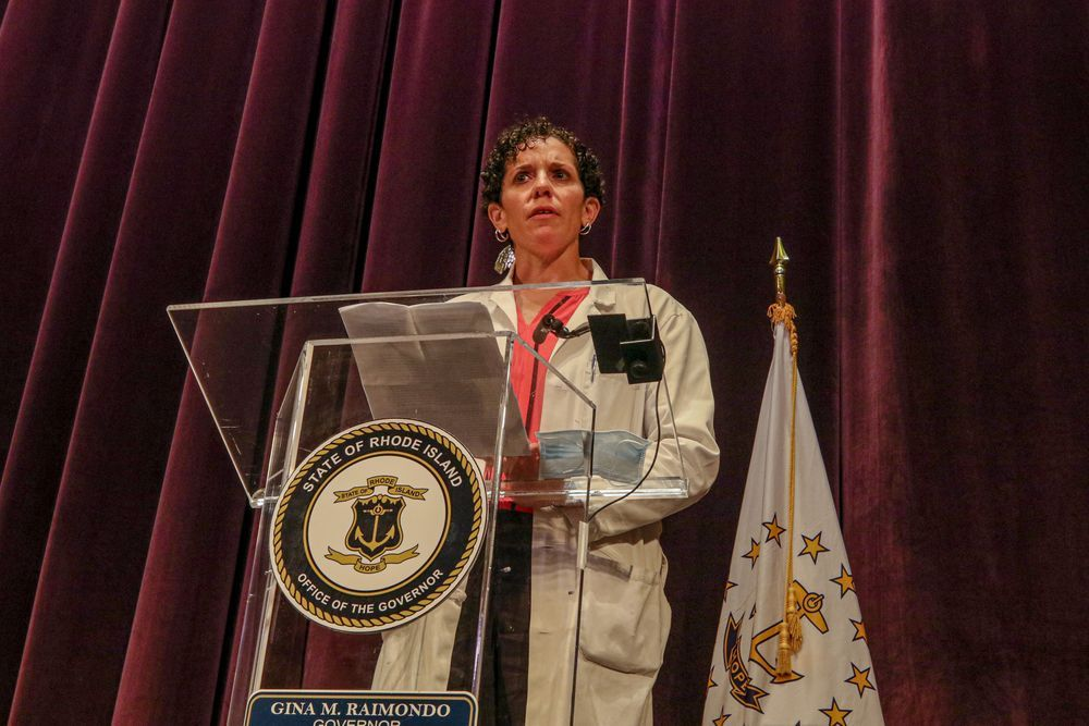 Dr. Laura V. Forman, chief of emergency medicine at Kent Hospital, in Warwick, R.I., speaking during Gov. Gina Raimondo's Nov. 12, 2020 briefing
