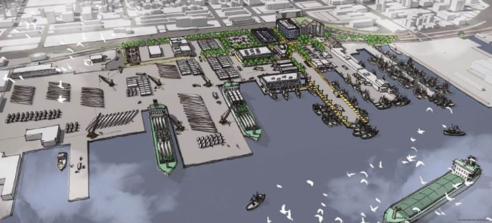 A rendering of the offshore wind port facility proposed by Cannon Street Holdings.