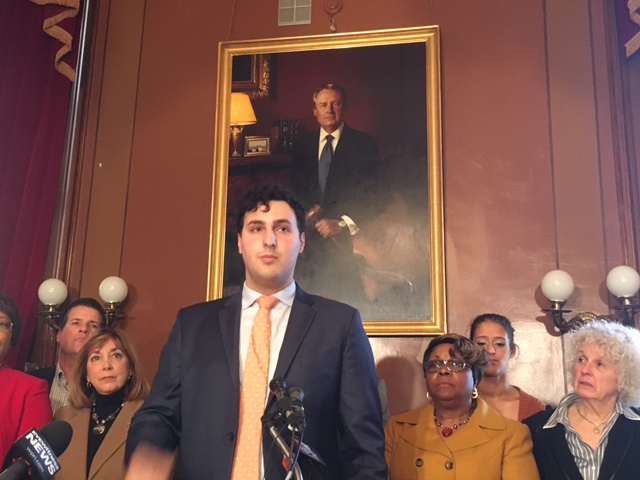 Regunberg during a 2017 news conference at the Statehouse.