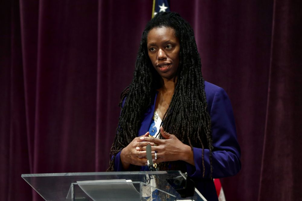 Dr. Nicole Alexander-Scott, director of the R.I. Department of Health, at a briefing on the coronavirus pandemic