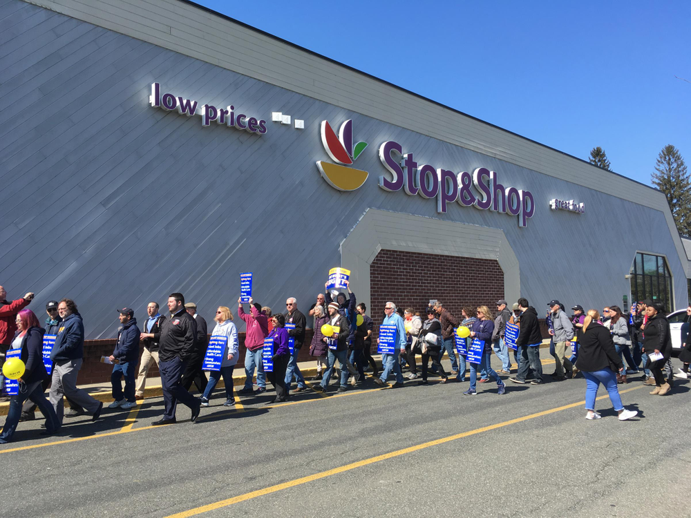 After speakers addressed the crowd, Stop & Shop workers and their supporters marched to the front of the store, chanting their demands for a contract deal.