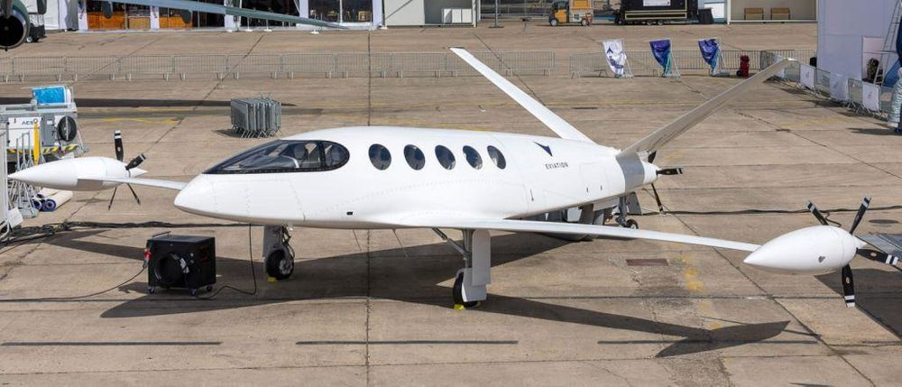 Eviation's Alice electric plane is seen at the Paris Air Show