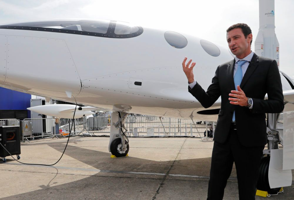 Omer Bar-Yohay, Eviation CEO and co-founder, gestures as he speaks to media next to an Alice electric aircraft at the Paris Air Show on June 18.
