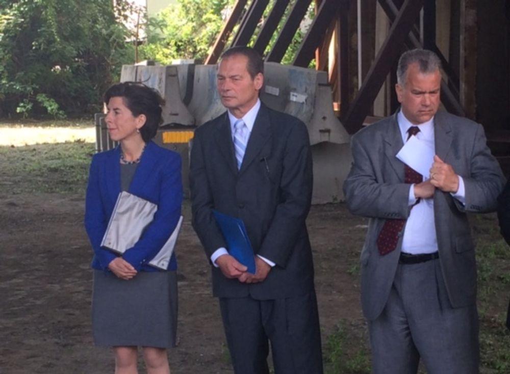 Gov. Raimondo with Senate President Ruggerio and Speaker Mattiello during a 2015 news conference to launch RI's infrastructure program