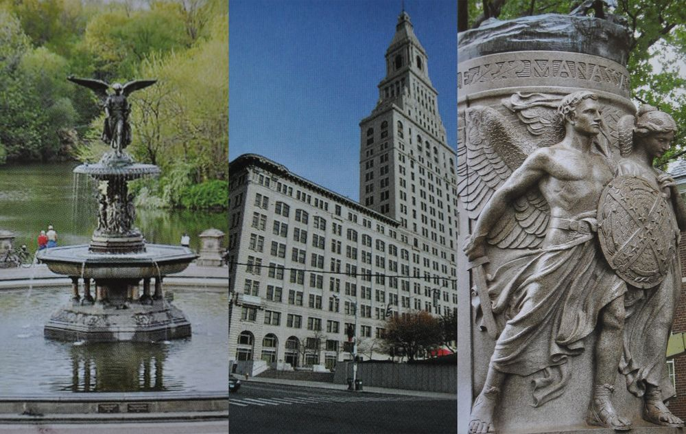 The Bethesda Fountain in New York's Central Park, Travelers Tower in Hartford, Conn., and the base of a monument to Confederate general Stonewall Jackson in Charlottesville, Virginia (left to right).