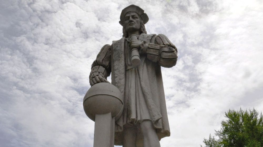 The Christopher Columbus monument in downtown Westerly, R.I.