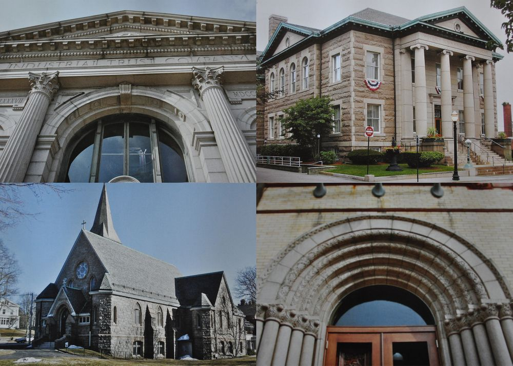 The Industrial Trust Company building, Westerly Town Hall, the Westerly Library archway, and Christ Episcopal Church (clockwise from top left).