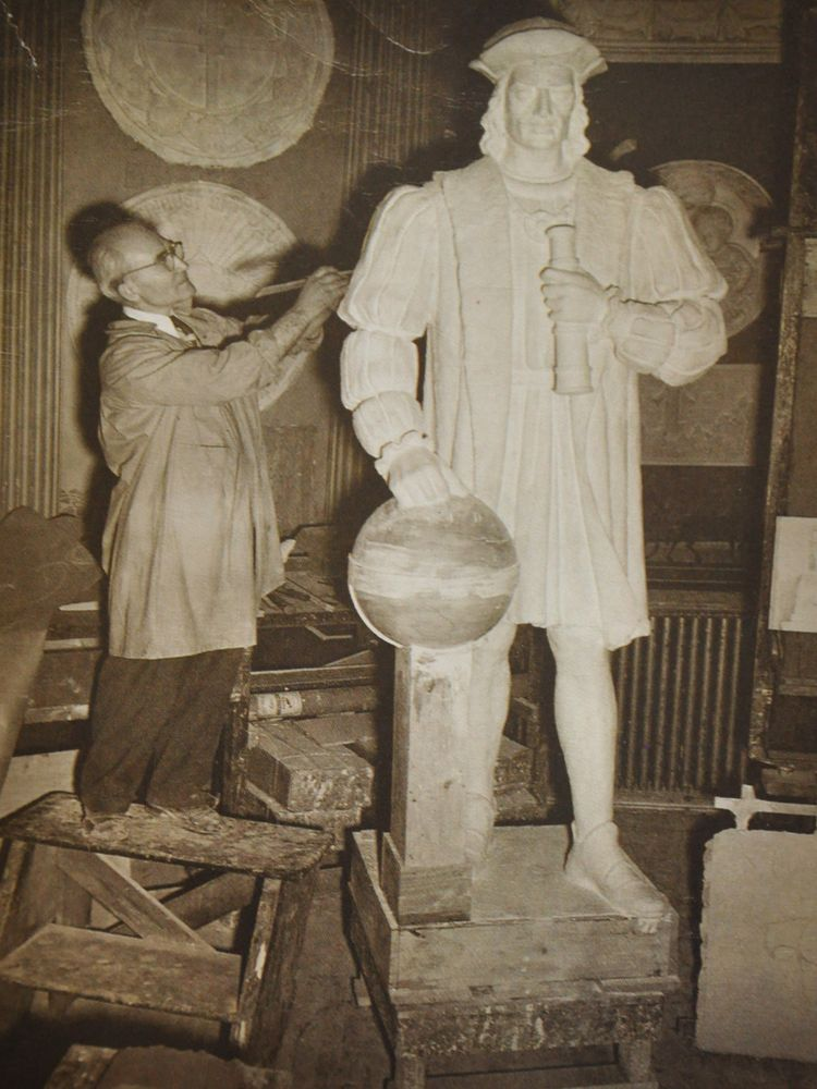 Sculptor Charles Pizzano works on the plaster mold to the Westerly Columbus monument.