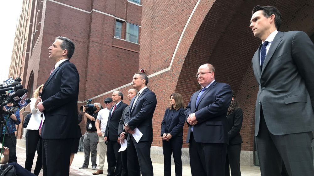 Federal law enforcement officials held a press conference outside the courthouse after the verdict. Assistant U.S. Attorneys Zachary Hafer, left, and David Tobin, second from left, tried the case.