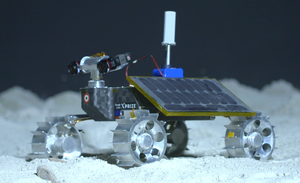The small-scale rover has forward and backward facing cameras, which the team will use to study the lunar terrain.