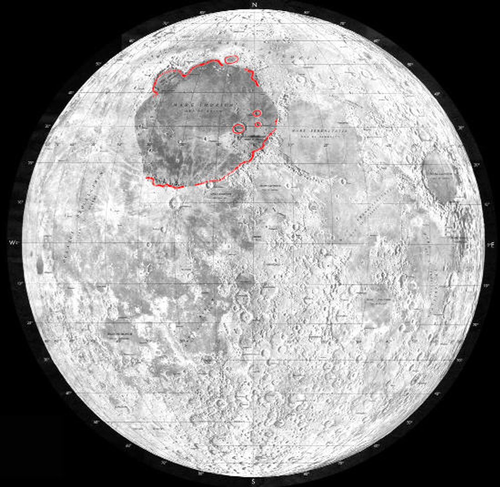 The Mare Imbrium region of the Moon's surface.