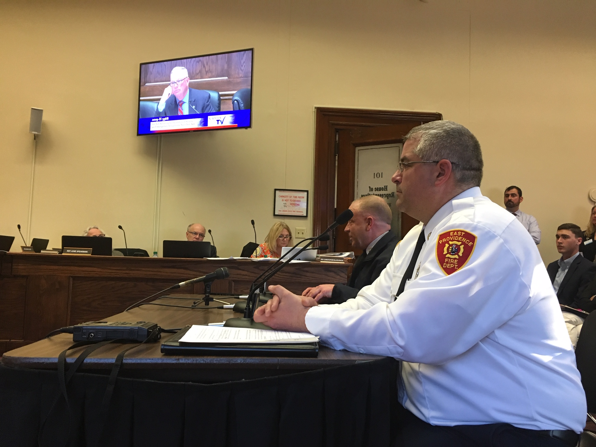 East Providence Fire Capt. John H. Potvin, director of the city's emergency medical services, testifying Wednesday on the 911 bill.