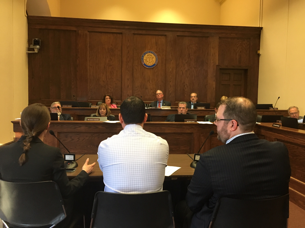 Emergency Medicine Doctors Heather Rybassak-Smith (left), Joseph R. Lauro (center) and Nicholas P. Asselin testify at a House committee hearing Wednesday on a bill to improve training for 911 call takers.