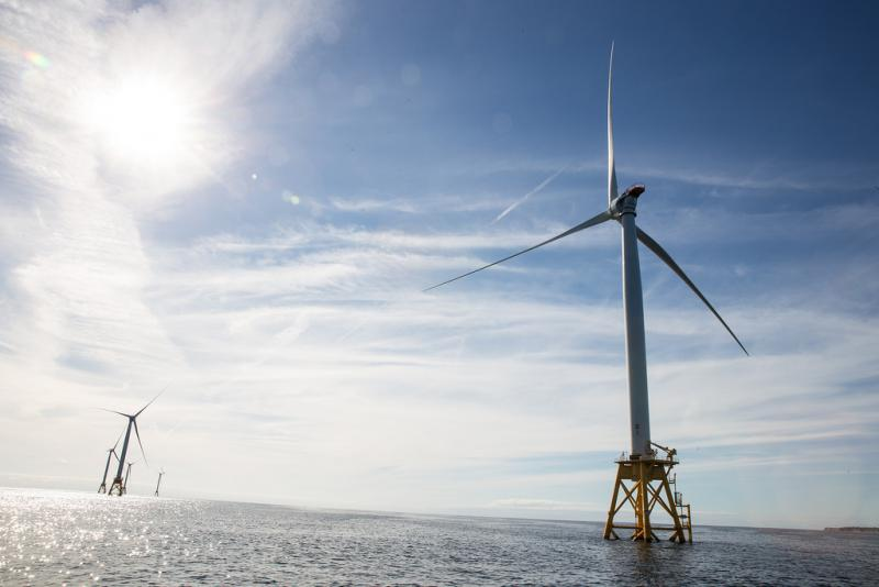 The nation's first off-shore wind farm off the coast of Block Island, Rhode Island in October 2016. RYAN CARON KING / CONNECTICUT PUBLIC RADIO