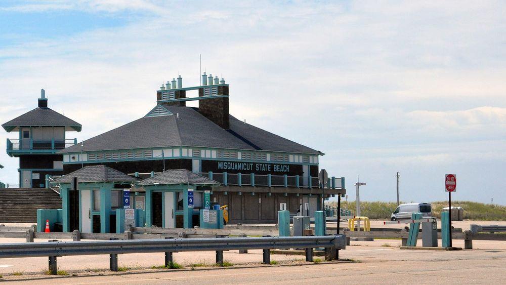 Gates are closed to the parking area at Misquamicut State Beach in Westerly on Aug. 23, 2021.