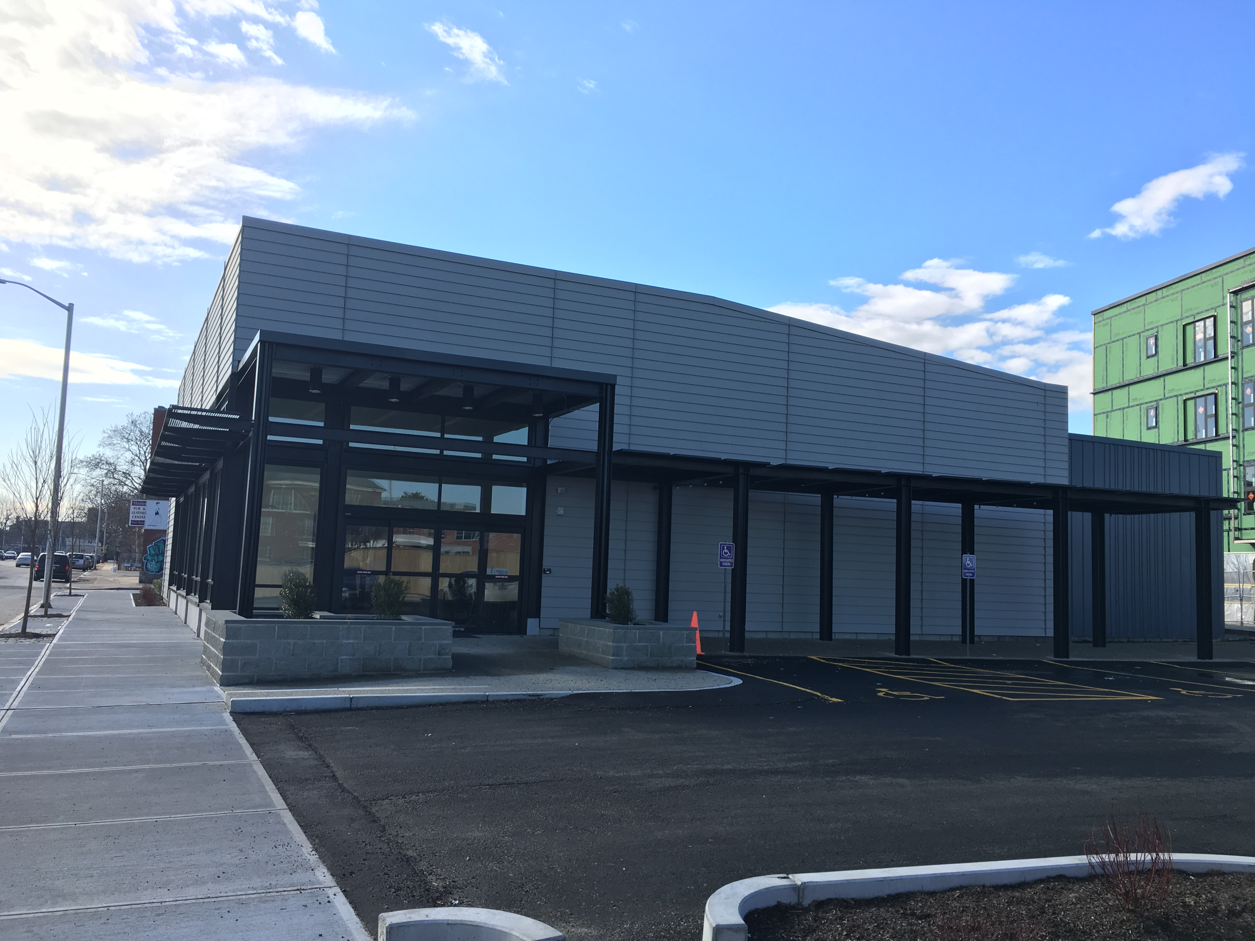 Construction is nearly complete on the Urban Greens Food Co-op building at 93 Cranston St. in Providence.