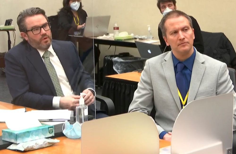 In this image from video, defense attorney Eric Nelson, left, and defendant, former Minneapolis police officer Derek Chauvin, speak to Hennepin County Judge Peter Cahill after the judge has put the trial into the hands of the jury. Monday, April 19, 2021, in the trial of Chauvin, in the May 25, 2020, death of George Floyd at the Hennepin County Courthouse in Minneapolis, Minn.