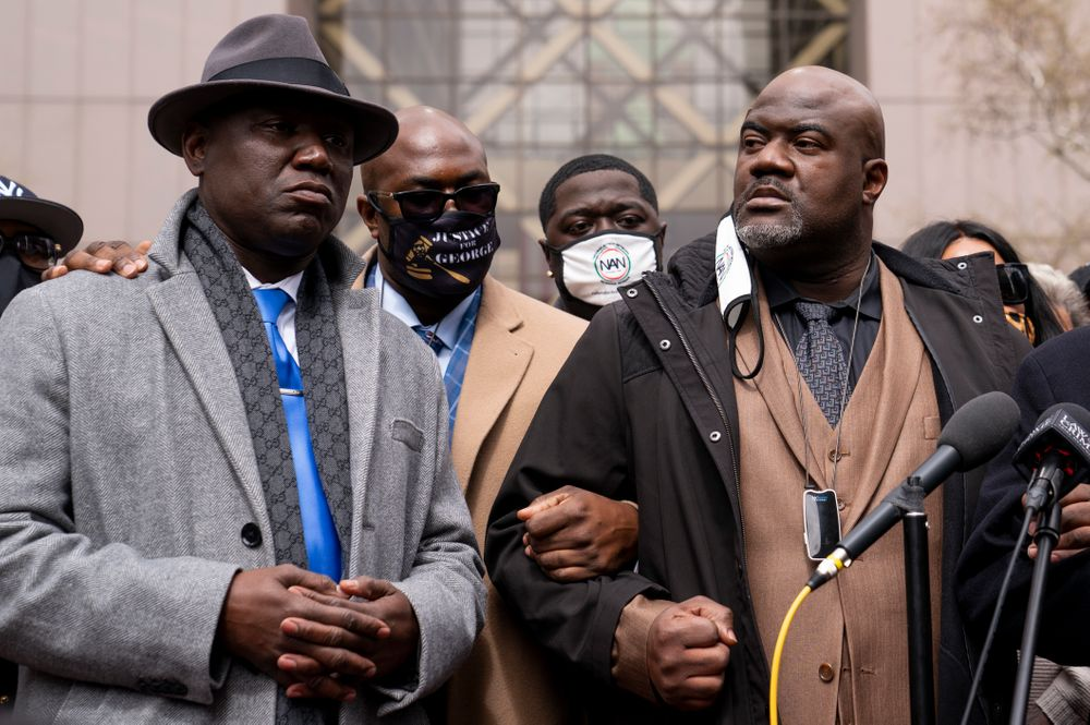 From left, attorney Ben Crump, Philonise Floyd, brother of George Floyd, Brandon Williams, nephew of George Floyd, and Rodney Floyd, brother of George Floyd, attend a news conference outside the Hennepin County Government Center before the murder trial against the former Minneapolis police officer Derek Chauvin in the killing of George Floyd advances to jury deliberations, Monday, April 19, 2021, in Minneapolis.