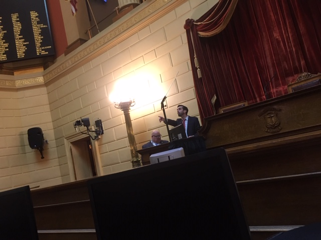 Raia in the RI House chamber ahead of Gov. Raimondo's most recent State of the State address, in January.
