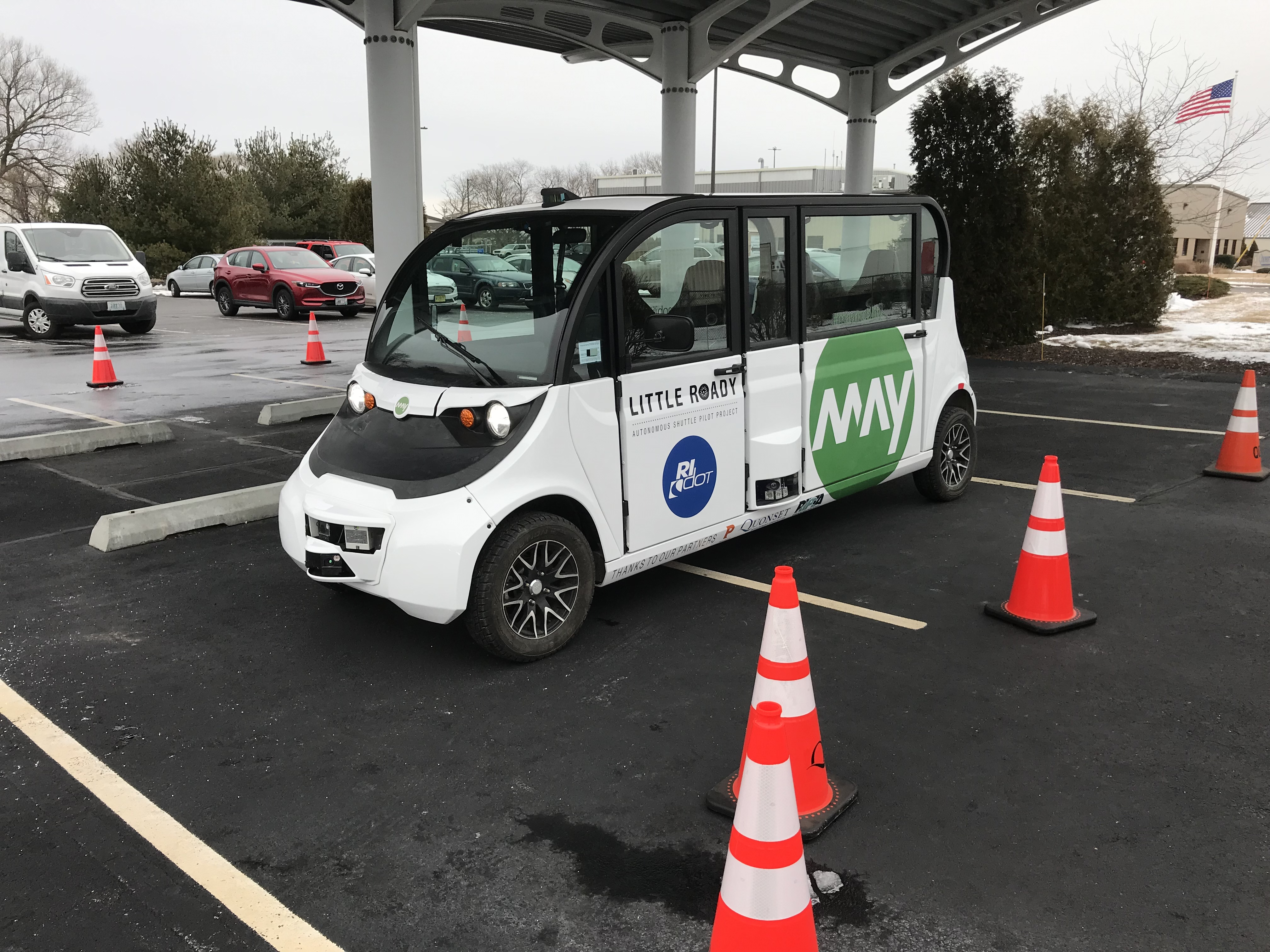 One of the autonomous vehicles, at a demonstration on February 20th, 2019.