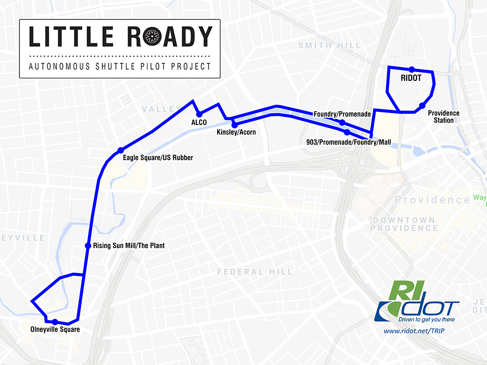 The planned route of an autonomous vehicle shuttle in Providence.