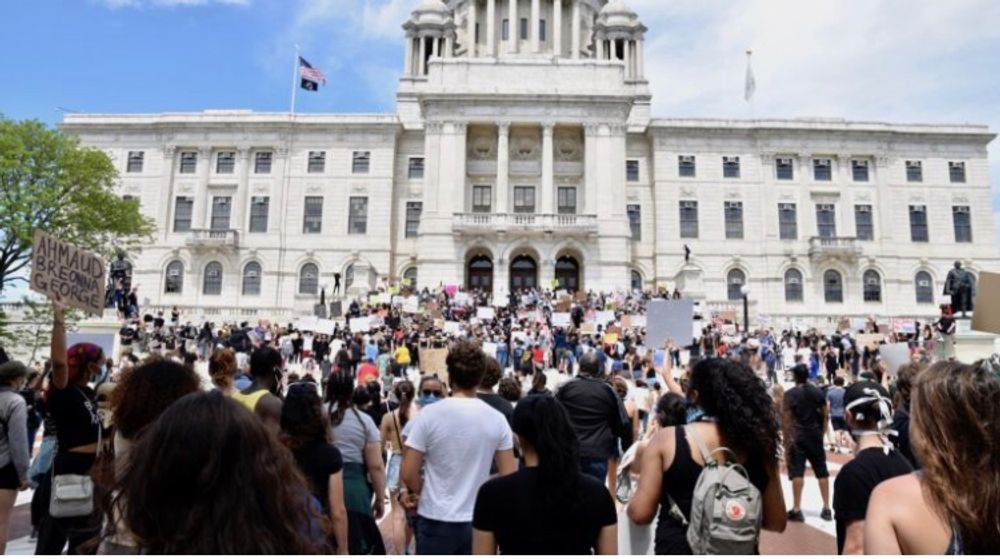 Protesters outside the R.I. State House