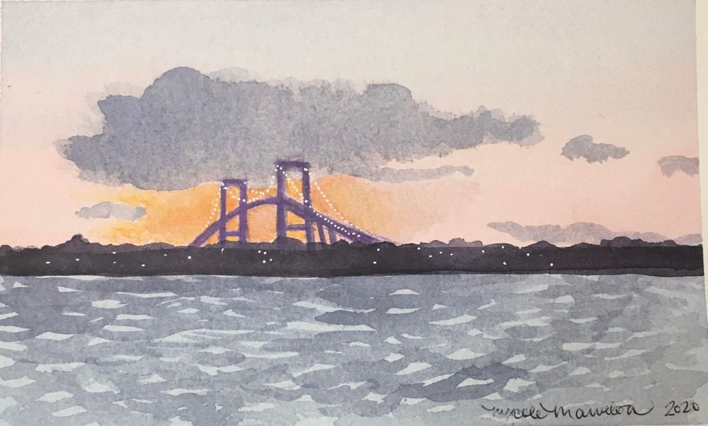 Painting by Nycole Matthews of the Pell Bridge. Matthews recently secured her own art studio in the North End.