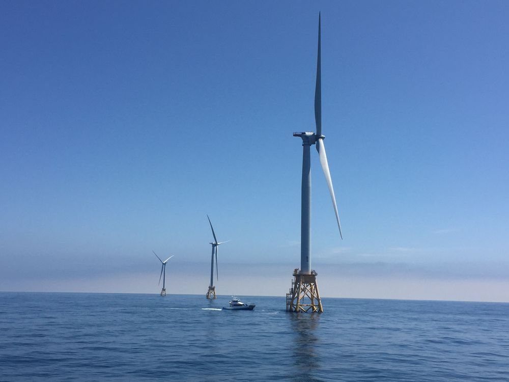 The country's first offshore wind farm off the coast of Block Island, RI consisting of five turbines. Vineyard Wind is set to become the developer of the nation's first large scale offshore wind farm.