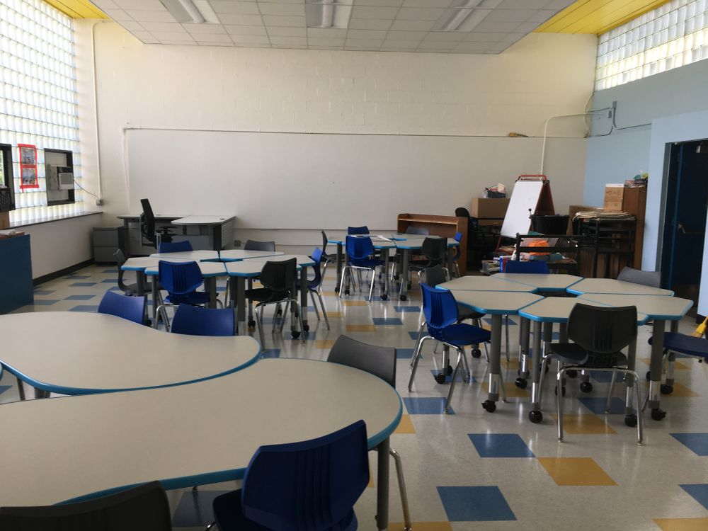 Classroom 8's new desks are on wheels that allow the teacher to easily rearrange the room. More furniture, including bookshelves and stools, are set to be delivered later this fall.