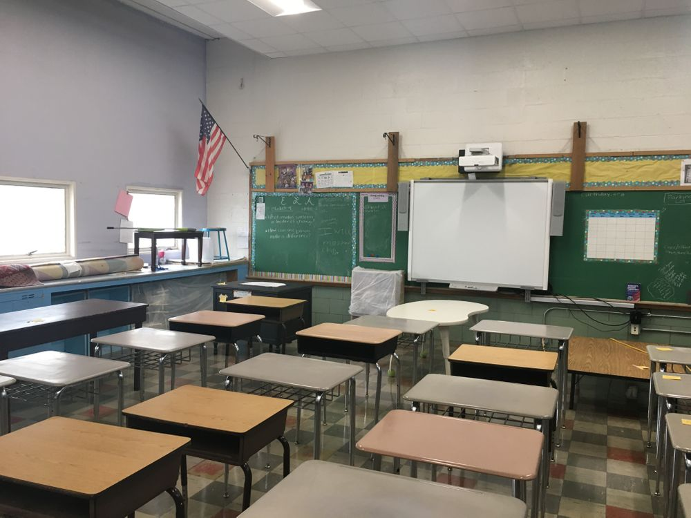 Another classroom across the hall suffered minor smoke damage from the fire, but was not fully renovated.