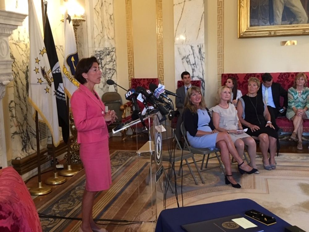 Gov. Raimondo during a news conference earlier this year.