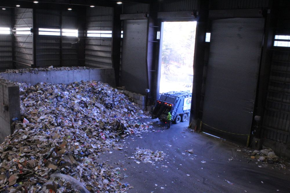 A truck delivers recycling to the region's MRF in Rochester.