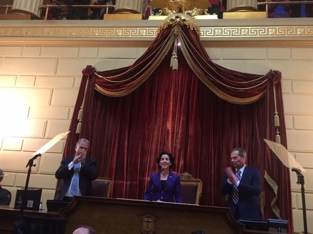 House Speaker Nicholas Mattiello and Senate President Dominick Ruggerio applaud during Gov. Raimondo's address
