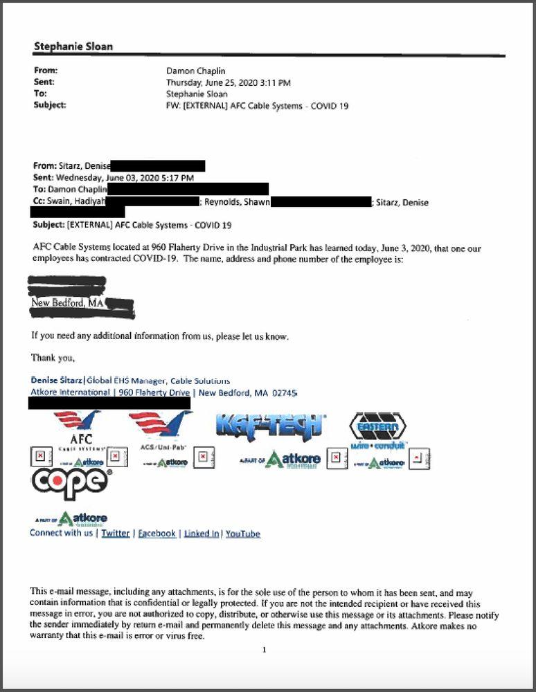 El Oficial de Salud y Seguridad COVID-19 designado por una instalación (CHASO) notificó al Departamento de Salud de New Bedford por correo electrónico que un empleado dio positivo por el virus. Las órdenes de emergencia exigen que todas las instalaciones industriales tengan un CHASO para reportar casos confirmados o sospechosos de COVID-19 al departamento para prevenir brotes.