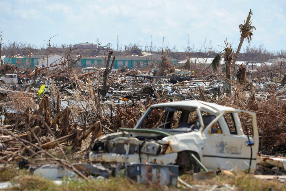 In this handout photo provided by the Dutch Defense Ministry taken on Wednesday, Sept. 11, 2019, the aftermath of Hurricane Dorian is seen on the island of Abaco in the Bahamas. Two Dutch navy ships have arrived in the Bahamas to help with the relief operation after the region was devastated by Hurricane Dorian. The Defense Ministry says that around 550 military personnel who arrived Wednesday on board the ships Snellius and Johan de Witt will deliver aid to residents on Abaco island. (Sjoerd Hilckmann/Dutch Defense Ministry via AP)