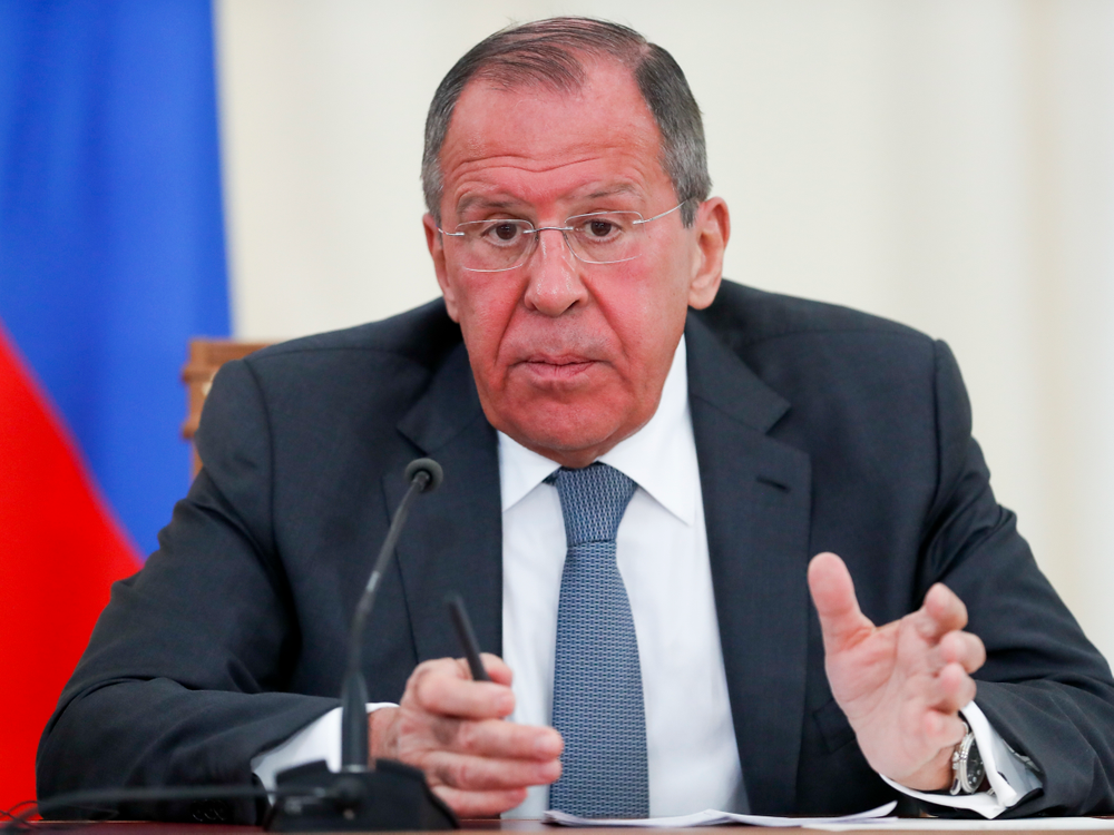 Russian Foreign Minister Sergey Lavrov speaks during his and U.S. Secretary of State Mike Pompeo joint news conference following the talks in the Black Sea resort city of Sochi, southern Russia, Tuesday, May 14, 2019. Pompeo's first trip to Russia starts Tuesday in Sochi, where he and Russian Foreign Minister Sergey Lavrov are sitting down for talks and then having a joint meeting with President Vladimir Putin. (AP Photo/Pavel Golovkin, Pool)