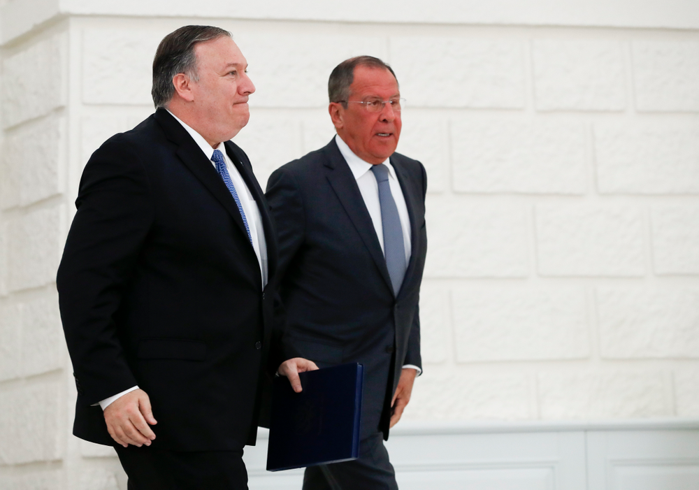 U.S. Secretary of State Mike Pompeo, left, and Russian Foreign Minister Sergey Lavrov leave their joint news conference following the talks in the Black Sea resort city of Sochi, southern Russia, Tuesday, May 14, 2019. Pompeo's first trip to Russia starts Tuesday in Sochi, where he and Russian Foreign Minister Sergey Lavrov are sitting down for talks and then having a joint meeting with President Vladimir Putin. (AP Photo/Pavel Golovkin, Pool)