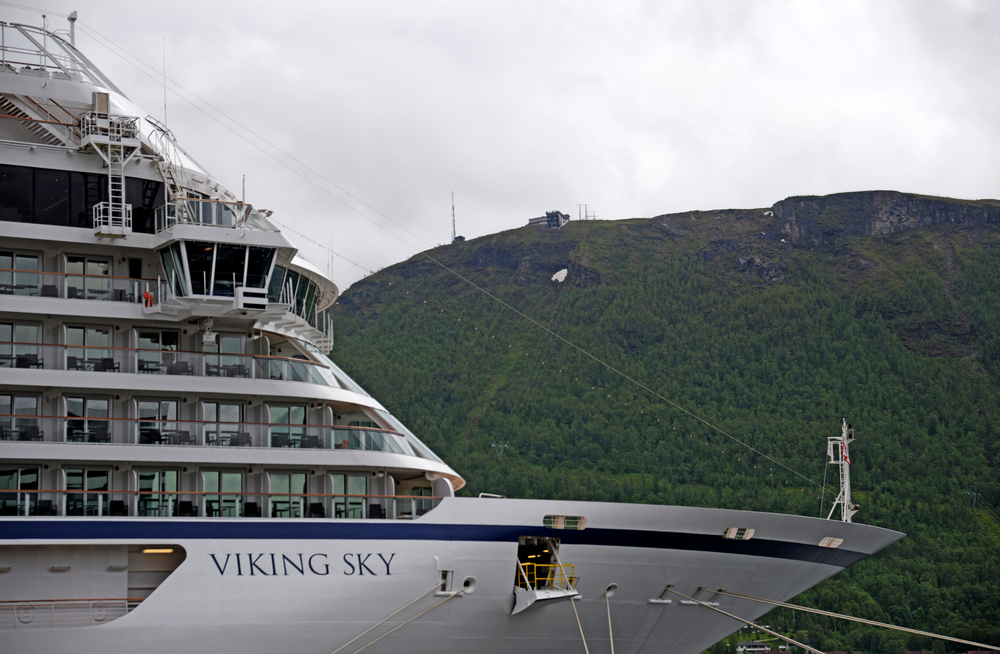 The cruise ship Viking Sky after it sent out a Mayday signal because of engine failure in windy conditions off the west coast of Norway, Saturday March 23, 2019.  The Viking Sky is forced to evacuate its 1,300 passengers. (Rune Stoltz Bertinussen / NTB scanpix via AP)