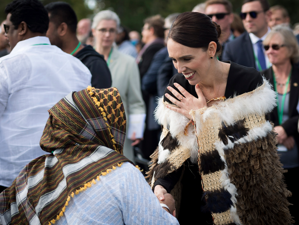 In this photo supplied by the New Zealand government, New Zealand Prime Minister Jacinda Ardern meets members of the Muslim community following the national remembrance service for the victims of the March 15 mosques terrorist attack in Hagley Park, Christchurch, New Zealand, Friday, March 29, 2019. (Mark Tantrum/New Zealand Government via AP)